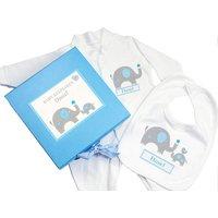 Blue Baby Elephant Gift Set - Babygrow & Bib - Elephant Gifts