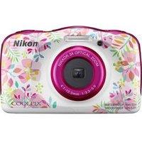 Nikon W150 Flowers Digitalkamera 13.2 Megapixel Opt. Zoom: 3 x Blumen, Weiß Wasserdicht, Staubgeschützt, Stoßfest, Bluetooth, Unterwasserkamera
