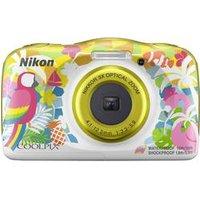 Nikon W150 Hawaii Digitalkamera 13.2 Megapixel Opt. Zoom: 3 x Bunt, Weiß Wasserdicht, Staubgeschützt, Stoßfest, Bluetooth, Unterwasserkamera