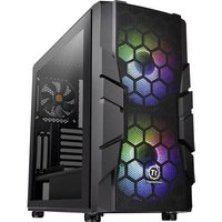 Thermaltake Commander C33 TG Midi tower PC casing, Game console casing Black 2 built-in LED fans, Built-in fan, LC compatibility, Window, Dust filter,