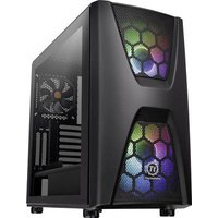 Thermaltake Commander C34 TG Midi tower PC casing, Game console casing Black 2 built-in LED fans, Built-in fan, LC compatibility, Window, Dust filter,
