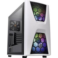 Thermaltake COMMANDER C34 TG Midi tower PC casing, Game console casing White, Black 2 built-in LED fans, Built-in fan, LC compatibility, Window, Dust filter,