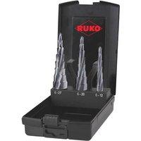 RUKO 101087PRO Step drill bit set 3-piece 6 - 12 mm, 6 - 20 mm, 6 - 27 mm HSS Triangular shank 1 Set