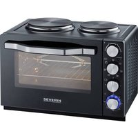 Severin TO 2065 Mini oven with manual temperature settings, Timer fuction, corded, incl. hobs, with skewer, Grill function, Fan-assisted oven 30 l