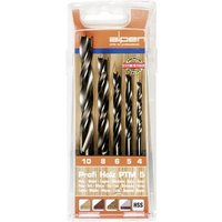 Alpen 600114100 Wood twist drill bit set 5-piece 4 mm, 5 mm, 6 mm, 8 mm, 10 mm Cylinder shank 1 Set