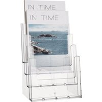 Helit H2352402 Magazine rack Glassy A4 portrait No. of compartments 4 1 pc(s) (W x H x D) 240 x 340 x 192 mm
