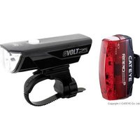 Cateye Bike Light Set Gvolt25 + Rapid Micro G Led Rechargeable Black, Red