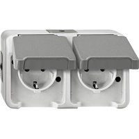 Schneider Electric 2x Wet room switch product range Complete PG socket (+ lid) AQUASTAR Light grey 4074948