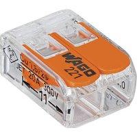 WAGO 221-412-1 Verbindungsklemme flexibel: 0.14-4mm² starr: 0.2-4mm² Polzahl: 2 Transparent, Orang