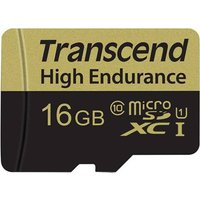 Transcend High Endurance microSDHC-Karte 16GB Class 10 inkl. SD-Adapter