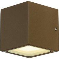 SLV Sitra Cube 232537 Außenwandleuchte Energiesparlampe, LED GX53 18W Rost (matt)