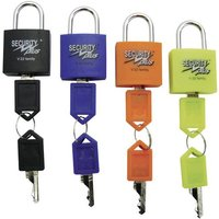 Security Plus V 22-4 Vorhängeschloss 4er Set Neongelb, Blau, Orange, Schwarz Schlüsselschloss