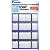 881400 Etiketten für SD-Karten Handbeschriftung 20 x 25mm Weiß, Blau Permanent 48St.