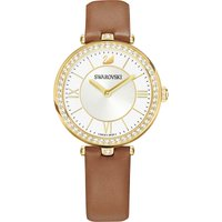 Aila Dressy Lady Watch, Leather Strap, Brown, Gold-tone Pvd