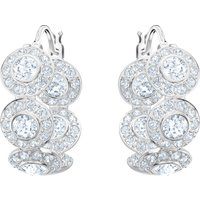 Angelic Hoop Pierced Earrings, White, Rhodium Plated