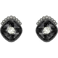 Black Baroque Stud Pierced Earrings, Dark Grey, Ruthenium Plated