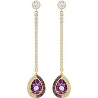 Black Baroque Drop Pierced Earrings, Purple, Gold-tone Plated