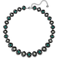 Black Baroque Necklace, Multi-coloured, Ruthenium Plated