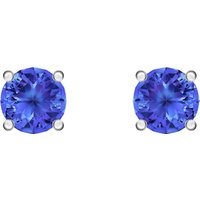 Attract Stud Pierced Earrings, Blue, Rhodium Plated