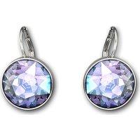 Bella Pierced Earrings, Purple, Rhodium Plated