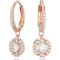Swarovski Sparkling Dance Round Pierced Earrings, White, Rose-gold tone plated - Swarovski Crystal Gifts