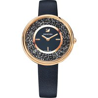 Crystalline Pure Watch, Leather strap, Black, Rose-gold tone PVD - Swarovski Crystal Gifts