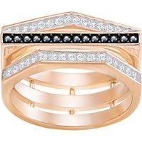Geometry Ring, Black, Rose-gold tone plated - Swarovski Crystal Gifts