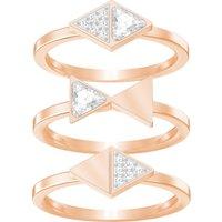 Heroism Ring Set, White, Rose-gold tone plated - Swarovski Crystal Gifts
