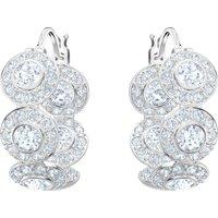 Angelic Hoop Pierced Earrings, White, Rhodium Plated