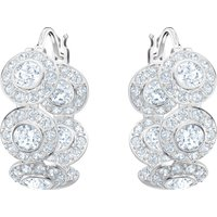 Swarovski Angelic Hoop Pierced Earrings, White, Rhodium plated