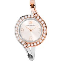 Lovely Crystals Bangle Watch, Metal bracelet, White, Bicolor PVD
