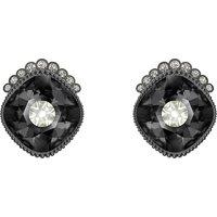 Black Baroque Stud Pierced Earrings, Dark Grey, Ruthenium Plated