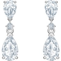 Palace Drop Pierced Earrings, White, Rhodium plated - Swarovski Crystal Gifts