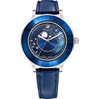 Octea Lux Moon Watch, Leather strap, Dark Blue, Stainless steel - Swarovski Crystal Gifts