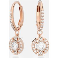 Swarovski Sparkling Dance Round Pierced Earrings, White, Rose-gold tone plated - Swarovski Gifts