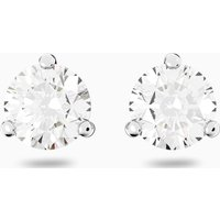 Solitaire Pierced Earrings, White, Rhodium plated - Jewellery Gifts