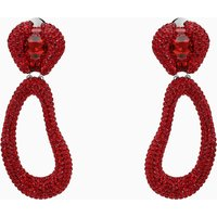 Tigris Drop Clip Earrings, Red, Palladium plated - Red Gifts