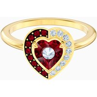 Black Baroque Motif Ring, Red, Gold-tone plated - Red Gifts