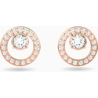 Creativity Circle Pierced Earrings, White, Rose-gold tone plated - Creativity Gifts
