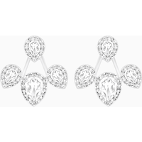 Laina Pierced Earring Jackets, White, Rhodium plated - Jackets Gifts