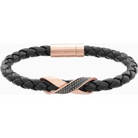 Cross Signature Bracelet, Leather, Black, Rose-gold tone plated - Seek Gifts