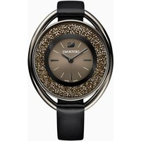 Crystalline Oval Watch, Leather strap, Black, Black PVD
