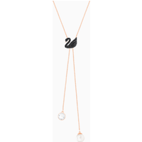 Swarovski Iconic Swan Y Necklace, Black, Rose-gold tone plated