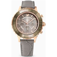 Octea Lux Chrono Watch, Leather strap, Grey, Rose-gold tone PVD - Watch Gifts