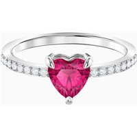 One Heart Ring, Red, Rhodium plated