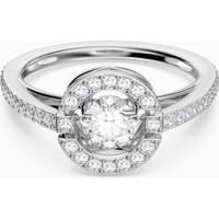 Swarovski Sparkling Dance Round Ring, White, Rhodium plated - Dance Gifts