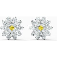 Eternal Flower Stud Pierced Earrings, Yellow, Mixed metal finish - Swarovski Crystal Gifts