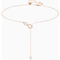 Swarovski Infinity Y-Halskette, weiss, Rosé vergoldet