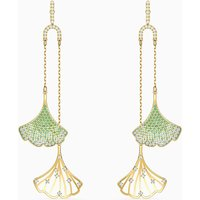 Stunning Gingko Mobile Pierced Earrings, Green, Gold-tone plated