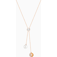 Forward Y Necklace, White, Rose-gold tone plated